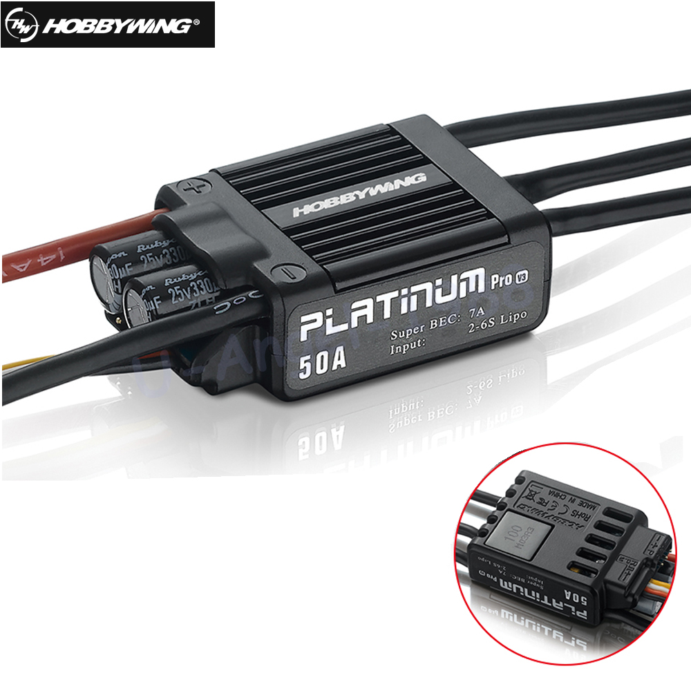 1pcs Original Hobbywing Platinum 50A V3 High Performance ESC for Align TREX 450 450L RC Helicopter Fixed Wing ESC wholesale 1pcs original hobbywing platinum 100a v3 rc model brushless esc for multicopter for align trex 550 600 700 rc helicopter fixed w