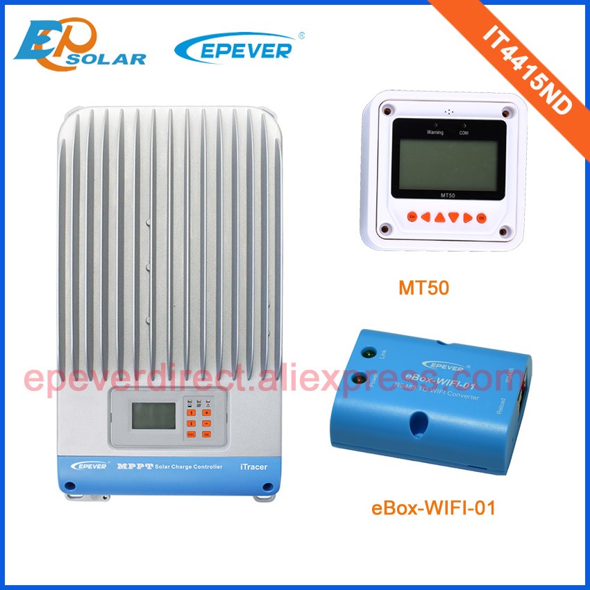 MPPT EPEVER IT4415ND Solar Controller 45A 12V/24V/36V/48V automatic work Battery Charger wifi box Phone APP MT50 Meter 45amps itracer series it4415nd 45a 45amp mppt epever solar portable regulators 12v 24v 36v 48v auto work free shipping
