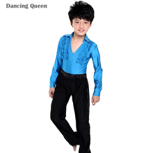 Cuhk Child Latin Dance Suit 2 Pcs Top&pants Practice Kids Children Long-sleeved Performing Costumes