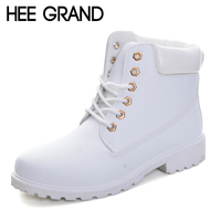 HEE GRAND Lace Up Candy Colors Women Martin Boots 2017 Creepers British Style Ankle Boots Casual