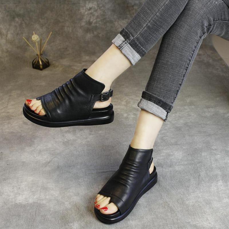 Women Boots Leather Flat Heels Sandal Boots Ankle Women Summer Shoes Black Martin Boots 3 CM