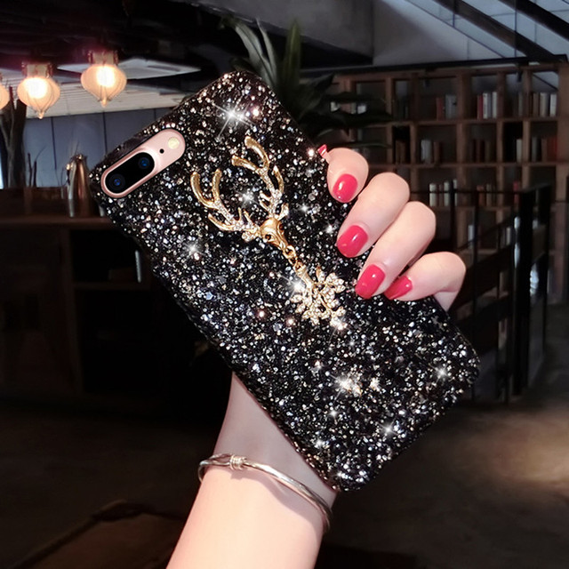 Luxury Phone Case For iPhone 7, Shiny Bling Glitter Case Cover For iPhone X 8 5S 6 6s Plus XS MAX XR Handmade DIY Diamond Case