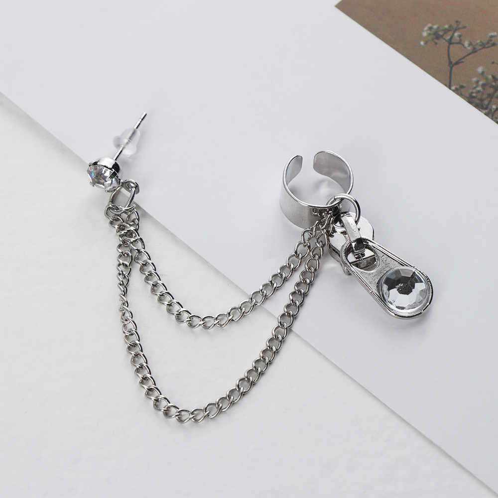 European Style Fashion Vintage Long Chain Cross Zipper Drop Earrings for Men and Women Party Punk Jewelry Gift Brincos