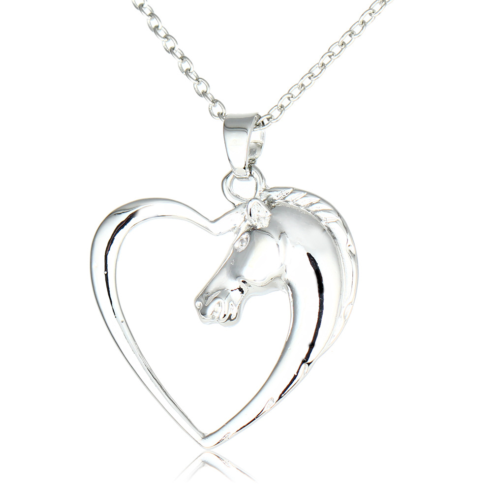 Jewelry & Watches Hot Heart Love Silver Chain Women Horse Charm Pendant Necklace Lady Jewelry Gift