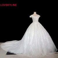 Custom plus size bride dress Wedding dress vestido de noiva princess 2018 Korean bride luxury flower large size long tail