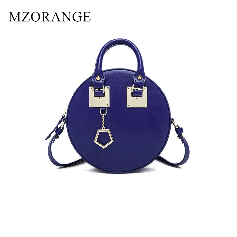 MZORANGE NEW Vintage Luxury Round Bag Genuine Leather Women's Handbag Fashion Metal Circular Tote Ladies Shoulder Messenger Bags 2018 new style genuine leather woman handbag vintage metal ring cloe shoulder bag ladies casual tote fashion chain crossbody bag
