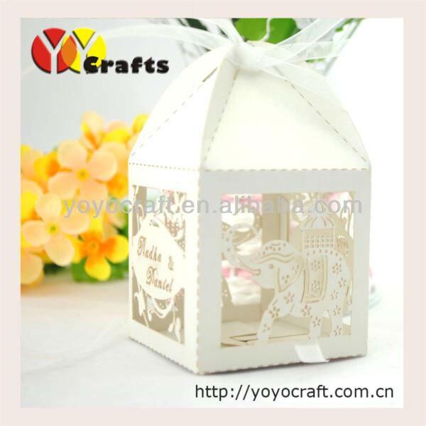 Для продажи! лазерная резка свадебное box Слон Форма с бесплатным лентой