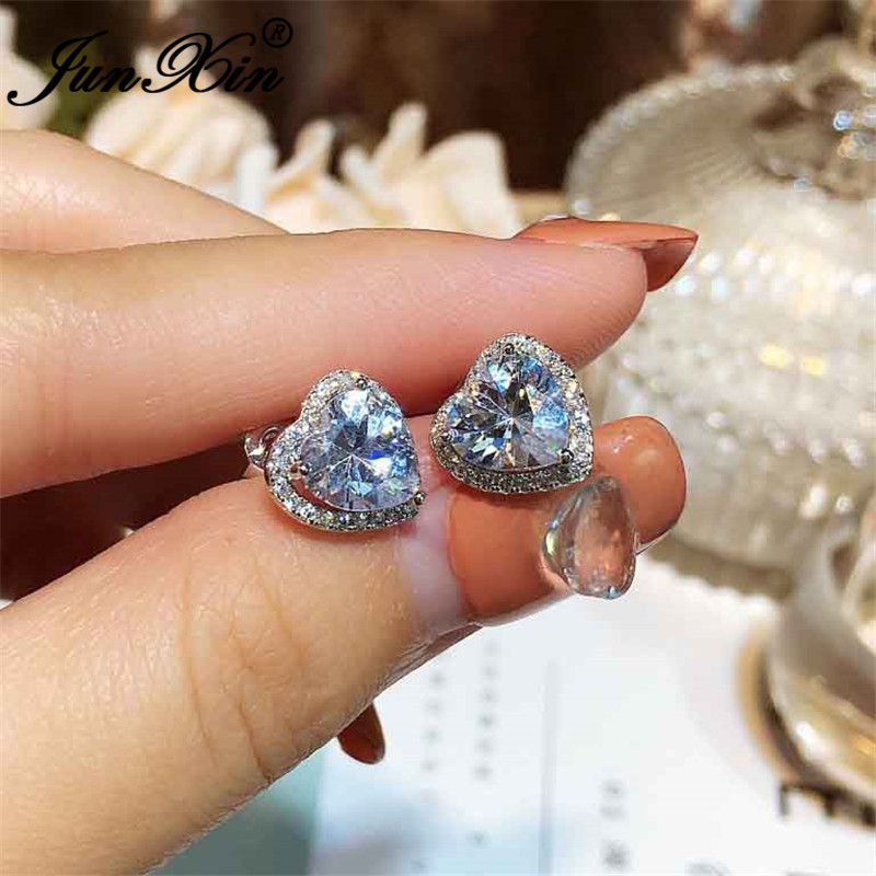 JUNXIN Girls Cute Heart Stud Earrings For Women White Gold Filled Brilliant White Zircon Austrian Crystal Wedding Studs
