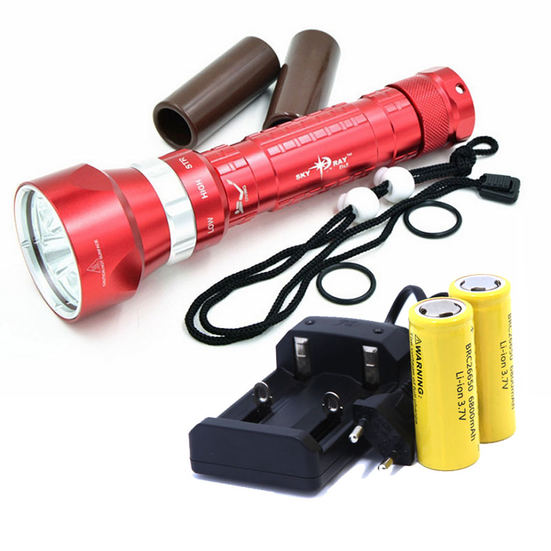 CREE XM-L2 50W 8000LM Waterproof LED Light Scuba Diving Flashlight underwater Diving Flashlight Lamp +2*26650 Battery+Charger m1306 10w 1000lm waterproof yellow light motorcycle led bulb w cree xm l u2 silver