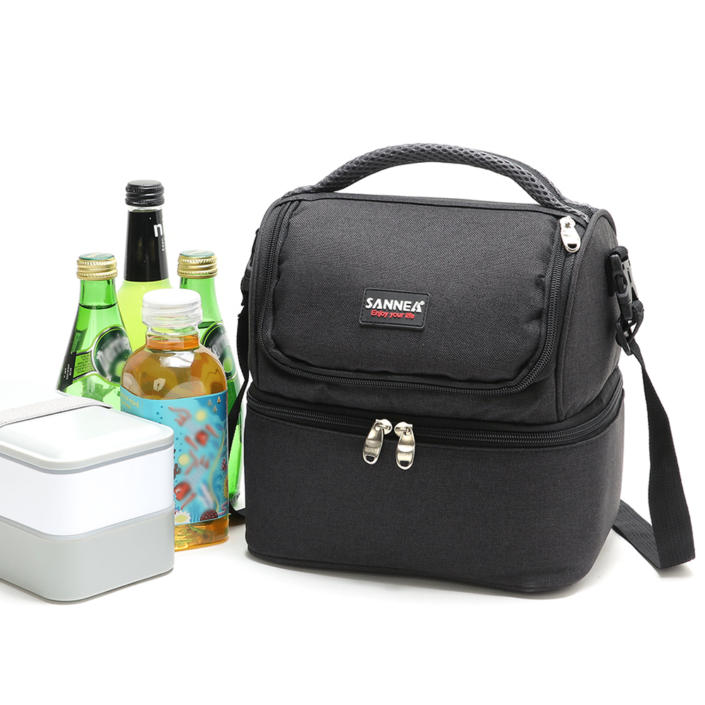 Lixada 7L Double Deck Insulated Bag Cooler Lunch Tote Bento Cooler Outdoor Camping BBQ Picnic Cooler Tote Bag-in Picnic Bags from Sports & Entertainment