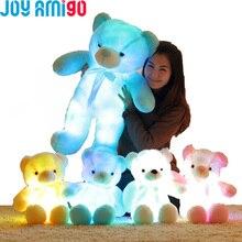 Cute Luminous Stuffed Bear Toy LED Light-Up Plush Doll Glow Teddy Pillow Auto Color Rotation Gift