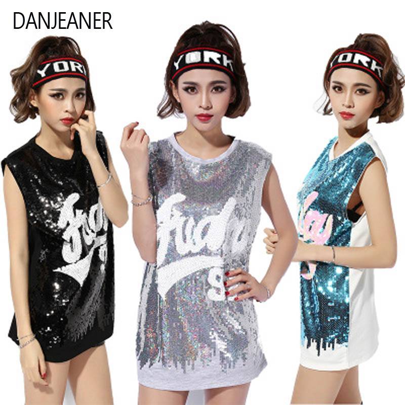 DANJEANER Nightclub DS costumes new female songs show jazz dance clothing hip hop hip-hop costume sleeveless sequins tops image