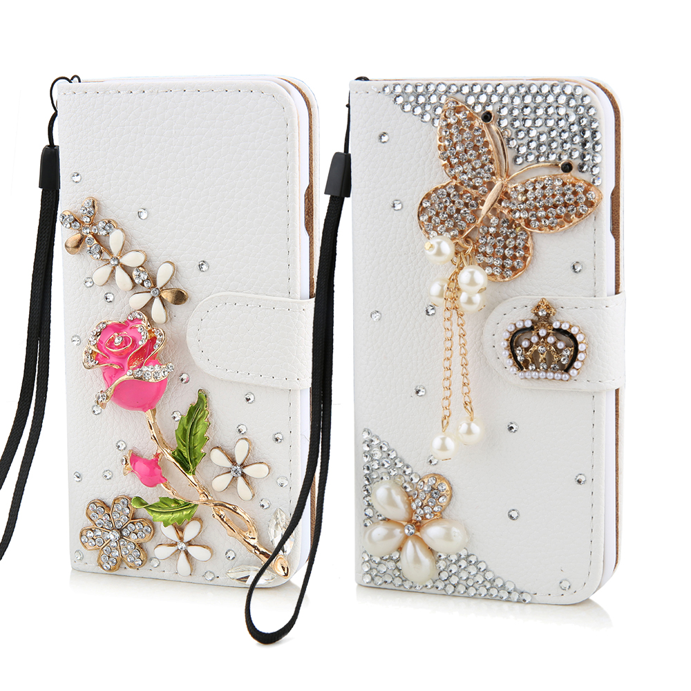 luxury crystal rhinestone flower butterfly wallet style bling diamond diy crown phone case for. Black Bedroom Furniture Sets. Home Design Ideas