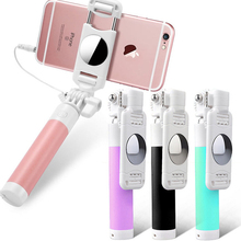 Luxury 3.5mm Universal Selfie Stick For iPhone X XS 7 8 6 Samsung Huawei Xiaomi Mini Foldable Tripod Mirror Wired Selfie Sticks floveme mini selfie stick with button wired handle extensible monopod universal for iphone 7 6 5 android samsung xiaomi sticks