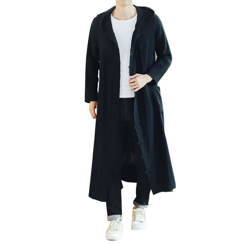 Men Long Casual Hooded Trench Coat Cardigan Jacket Outerwear Overcoat Spring Autumn Male Loose Hoody Harujuku Long Thin Jakcet