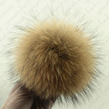 2pcs 14 -15cm Real Raccoon fur pom poms ball DIY for hat shoes cap accessorie
