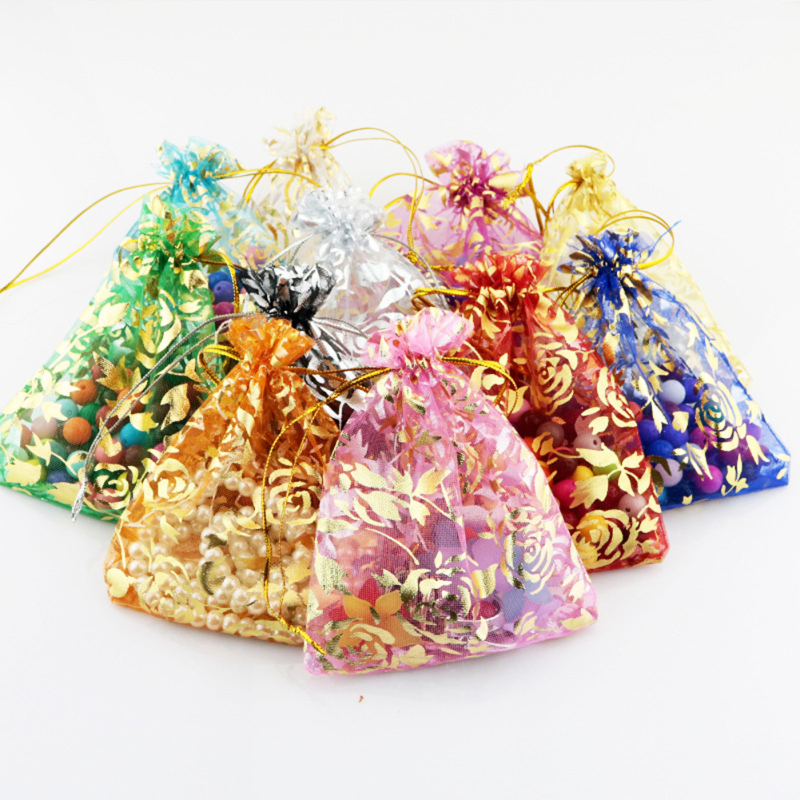 50pcs/set Organza for Wedding Gift Pouch Bags 7x9cm 3X4 Inch Mix Color Jewelry P