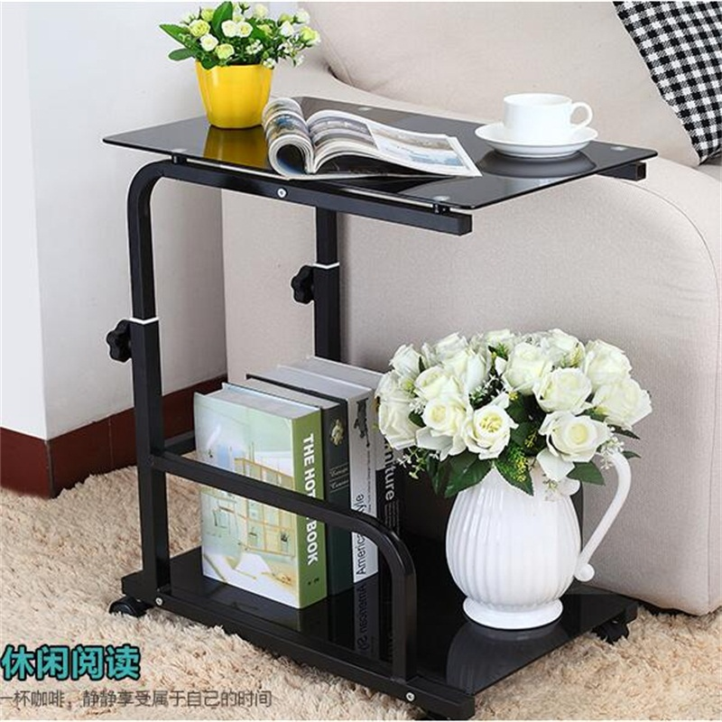 55*35CM Tempered Glass Laptop Table Removable Sofa Side Table Modern Lazy Bedside Table Living Room Coffee Table