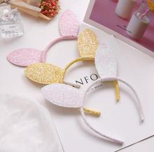 New Design Girls Lovely Rabbit Ears headband alloy thin glitter cartoon photo prop hair band women accessories headdress K5