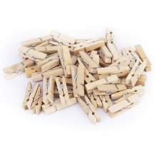 50pcs Wholesale Very Small Mine Size 25 x3mm Mini Natural Wooden Clips For Photo Clothespin Craft Christmas