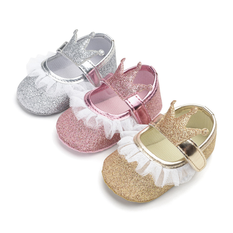 Baby Girls Princess Shoes Infant Toddler Crib Baby For Newborn Kids First Walkers Shining Crown Soft Soled Anti-Slip Shoes