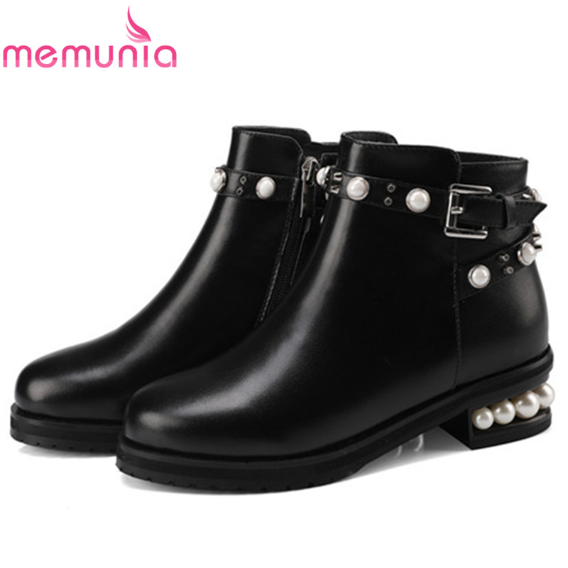MEMUNIA  Ankle boots for women fashion shoes top quality genuine leather boots in spring autumn med heels shoes big size 34-44 memunia 2017 fashion flock spring autumn single shoes women flats shoes solid pointed toe college style big size 34 47