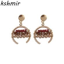 kshmir Fashionable Personality Geometry Earrings Metal Retro Half Moon Beads Handmade Women Delicate Jewelry