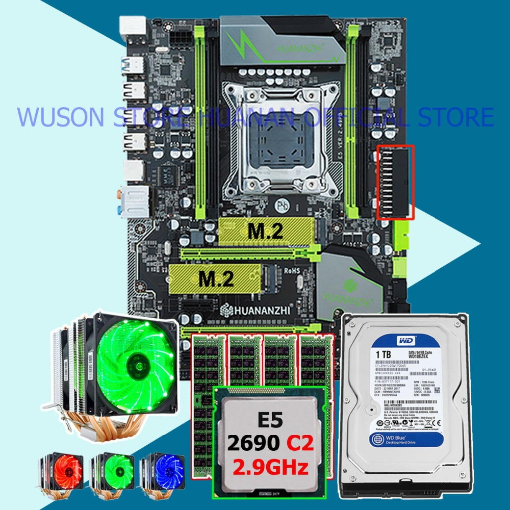 Hot HUANANZHI X79 Pro scheda madre fascio dual M.2 slot CPU Xeon E5 2690 2.9 GHz 6 tubi di raffreddamento RAM 16G (4*4G) RECC 1 TB SATA3.0 HDDHot HUANANZHI X79 Pro scheda madre fascio dual M.2 slot CPU Xeon E5 2690 2.9 GHz 6 tubi di raffreddamento RAM 16G (4*4G) RECC 1 TB SATA3.0 HDD