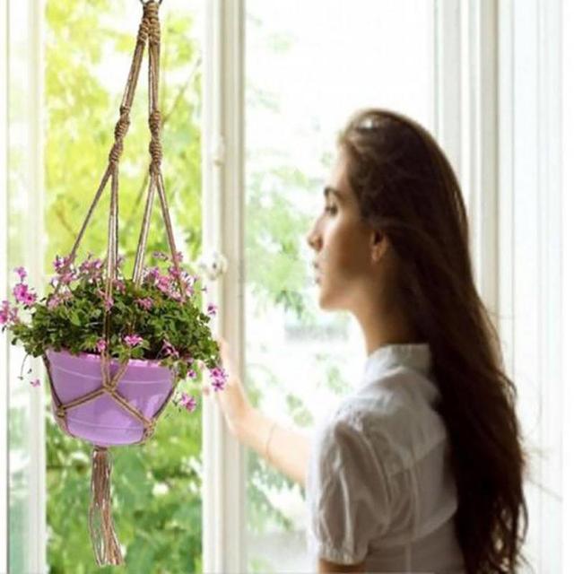Nylon Woven Macrame Plant Potting Hanger Flowerpot Holder Garden pot Lifting Rope String Garden Balcony Plant Product