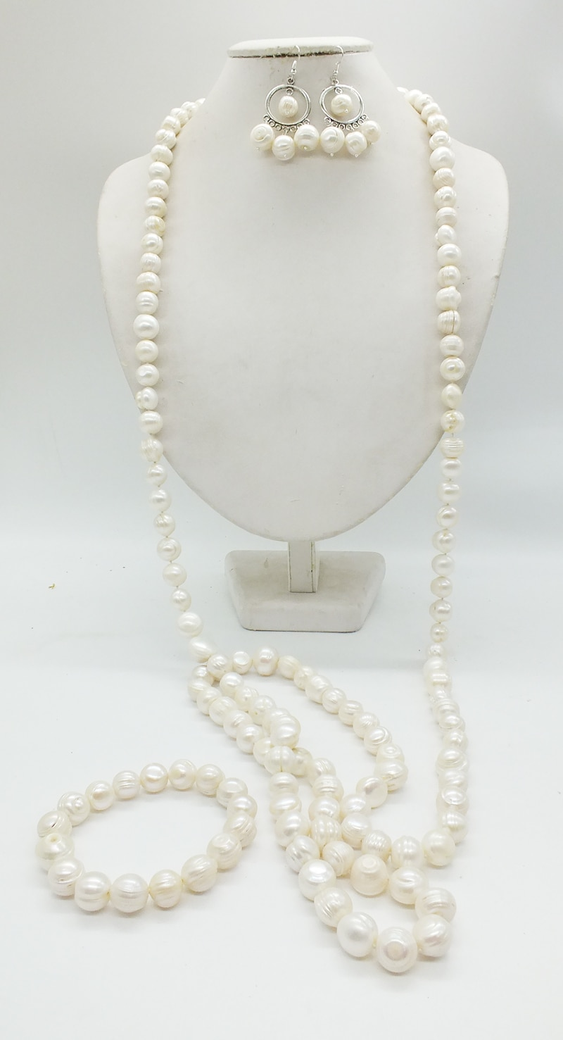 60 inches 12-14MM huge white seawater irregular baroque pearl necklace Bracelets, earrings. Carnival dance Classic jewelry set