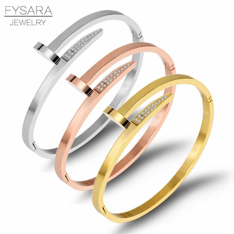 FYSARA สกรูทองสำหรับผู้หญิงผู้ชาย Cubic Zirconia ปูสแตนเลสสตีลเล็บสร้อยข้อมือ Lover กำไลข้อมือแฟชั่นเครื่องประดับ