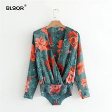 BLSQR Women Sexy Deep V Neck Floral Print Shirt Bodysuit Long Sleeve Playsuit Elastic Waist Retro Fashion Casual Tops Blusas(China)