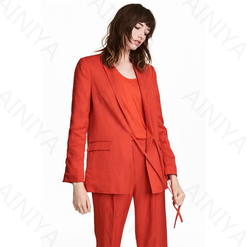 Orange Red Women Casual Office Business Suits Formal Work Wear Slim Fit Uniform Styles Elegant Pant Suits Custom Made