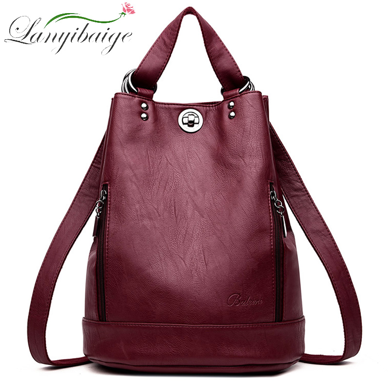 2018 Women Leather Backpacks Multifunction Women Vintage Shoulder Bag Ladies Rucksack Large Capacity Travel Bag Sac A Dos Preppy
