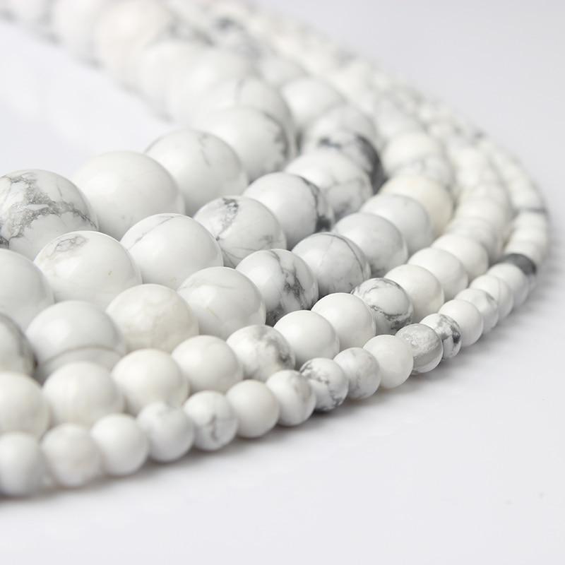 LanLi 4/6/8/10/12 мм моде натуральные камни белые бирюзой Круглый Loose бусы подходящие для DIY женский браслет ожерелье ювелирные изделия