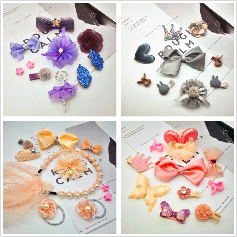New 5-10PCS cute kid hair accessories Gift set elastic hair bands Children Girl hair clip hairpin barrette ponytail holder T4 fashion barrette baby hair clip 10pcs cute flower solid cartoon handmade resin flower children hairpin girl hairgrip accessories