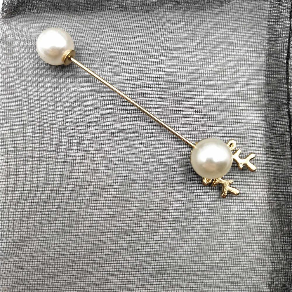 ファッション模擬パールブローチピンラインストーンの装飾バックルピンジュエリーシルバーゴールドブローチギフト男性の女性のため