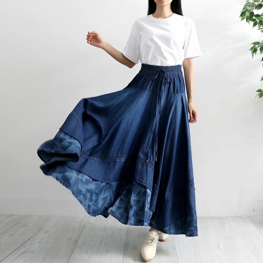 Todo Makuluya Faldas Casual Cintura Elástica Moda Mujeres fósforo De Otoño Nueva Qw Blue Alta Suelto Primavera Larga Denim w4HrXS4q
