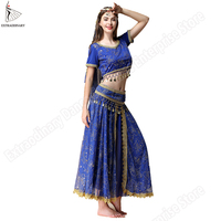 New Bollywood Sari Belly Dance Costumes Set For Oriental Dance Indian Suit Women Chiffon 5pcs (Headpieces Veil Top Belt Skirt)
