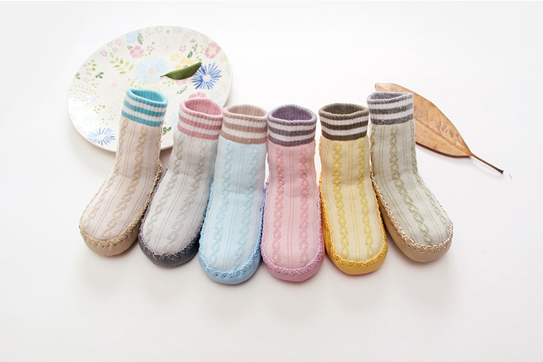 Spring Winter Baby Boy Girl Children Socks Anti-slip Newborn Cartoon Shoes Slippers Boots Soft Leather Sole Infant Indoor Socks