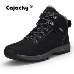Cachachy botas de neve de alta qualidade dos homens mais tamanho 47 46 inverno outono botas de tornozelo quente pelúcia botas hombre sapatos de inverno à prova dwaterproof água