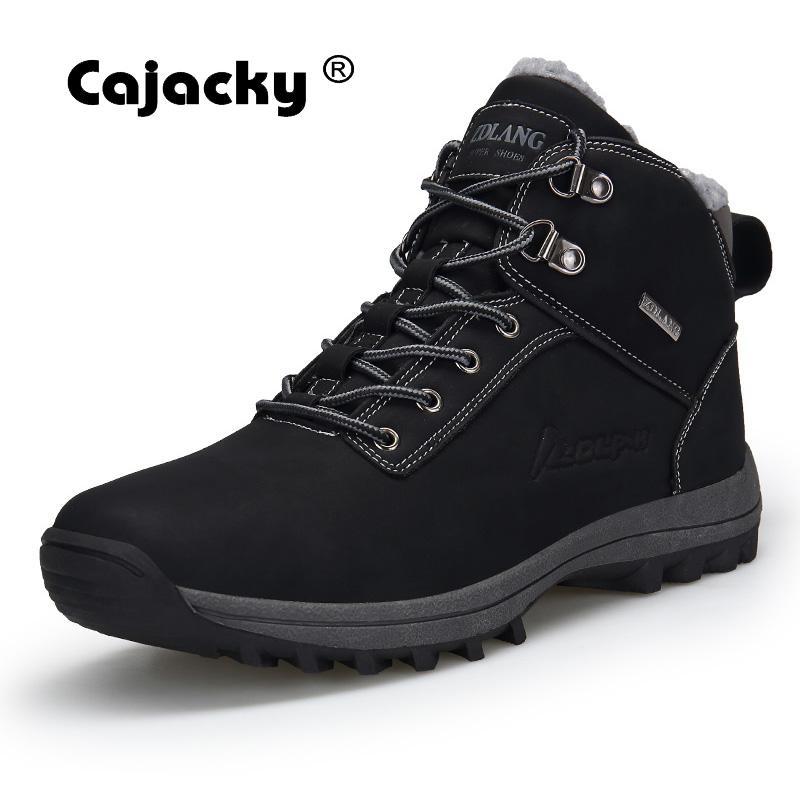 Cajacky High Quality Snow Boots Men Plus Size 47 46 Winter Autumn Ankle Boots Warm Plush Botas Hombre Winter Shoes Waterproof стоимость