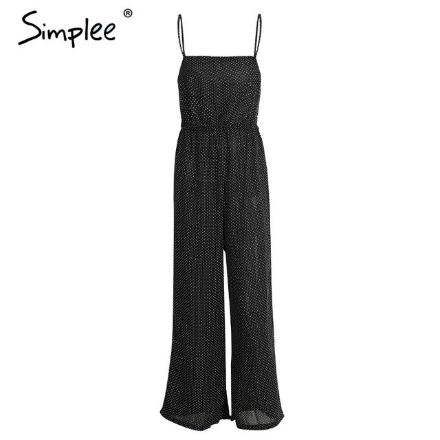 Simplee Hollow out backless women jumpsuit romper bodysuit Black chiffon bodysuit summer Sexy dot high waist playsuit overalls