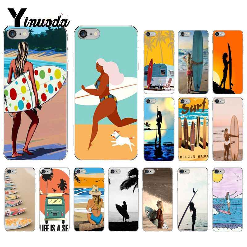 Yinuoda กระดานโต้คลื่น art surf Girl Soft Shell สำหรับ iPhone 8 7 6 6S Plus X XS MAX 5 5S SE XR 10 Fundas Capa