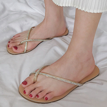 купить 2019 Sexy Ladies Flat Sandals Women Shoes Summer Beach Sandals dames Crystal boho Slippers Women Slides flip flops buty damskie по цене 855.97 рублей