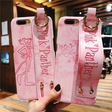 Luxury Cute Pink Panther Phone Case for Apple iPhone 7 6 6s 8 Plus Cartoon Pattern PU Leather Strap Holder Cover For iphone X XS цена