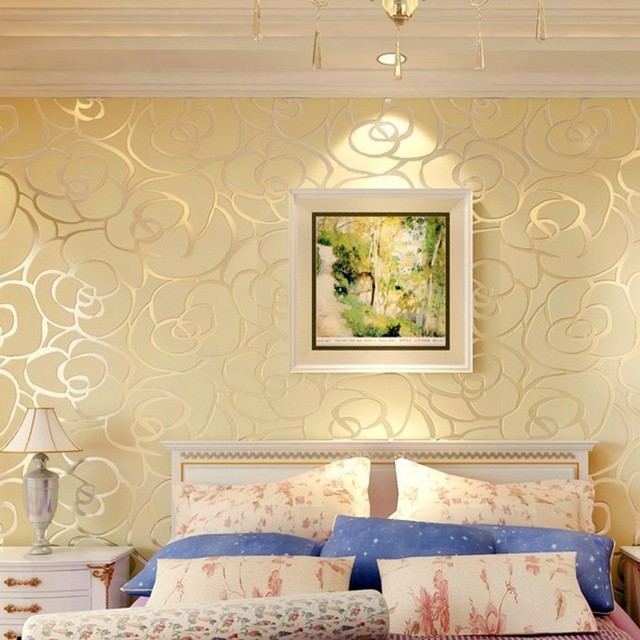 beibehang home decor Background wall Modern wallpaper gold roses for ...