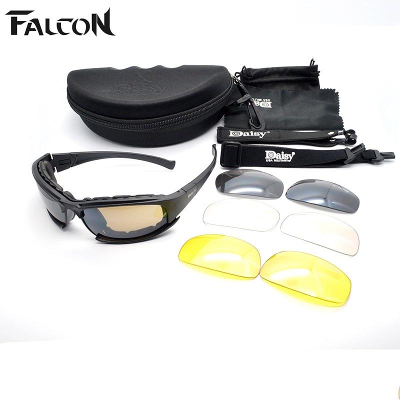 Prix pour Polarisee Daisy X7 C5 Militaire lunettes Hommes Moto Tactique lunettes de Soleil En Plein Air Lunettes Lunettes 4 Lentilles Coupe-Vent Lunettes Oculos
