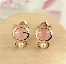 New Hot ! Fashion Jewelry Wholesale Super Cute Crystal Clear Gold Color Kitty Bowknot Pearl Stud Earrings For Women Girls E-185