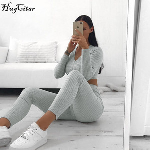Image 3 - Hugcitar v 넥 긴 소매 섹시한 자르기 탑스 바지 2 2 개 세트 2019 가을 겨울 여성 streetwear t rhist trousers tracksuit